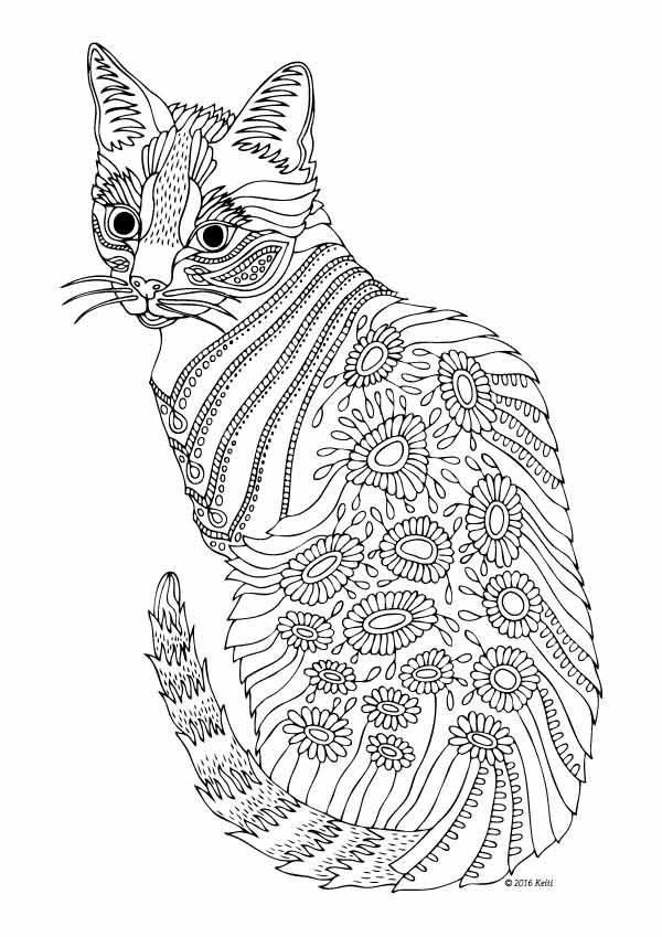 Cat Coloring Pages For Adults 54
