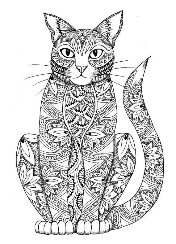 Cat Coloring Pages For Adults 55