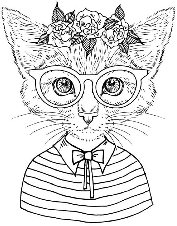 Cat Coloring Pages For Adults 63