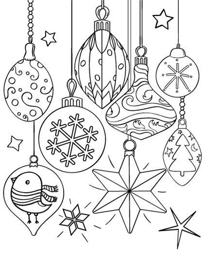 Christmas Ornament Coloring Pages 1