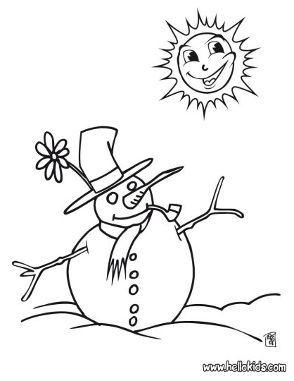 Christmas Snowman Coloring Pages 10