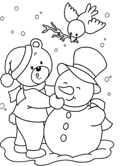 Christmas Snowman Coloring Pages 13