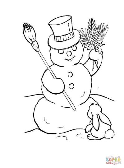 Christmas Snowman Coloring Pages 16