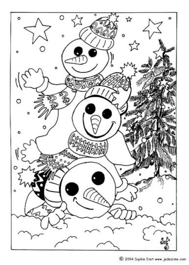 Christmas Snowman Coloring Pages 17