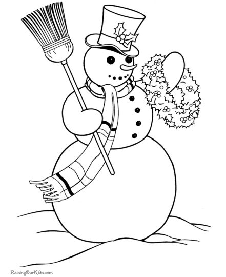 Christmas Snowman Coloring Pages 23