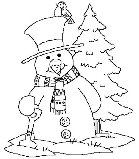 Christmas Snowman Coloring Pages 3