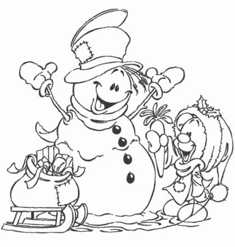 Christmas Snowman Coloring Pages 48