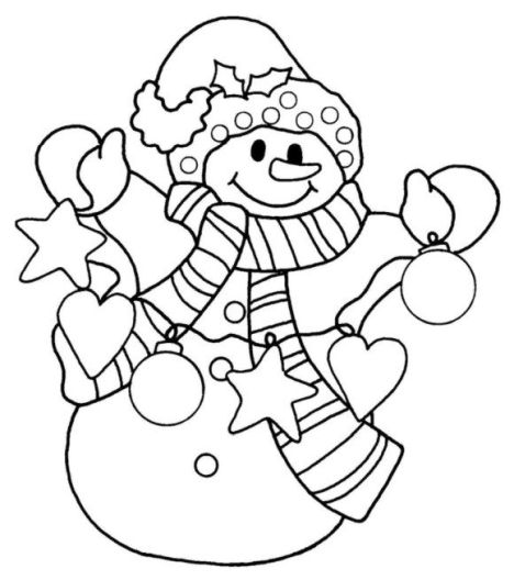 Christmas Snowman Coloring Pages 6
