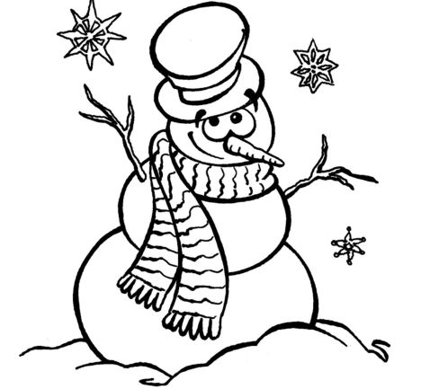 Christmas Snowman Coloring Pages 7