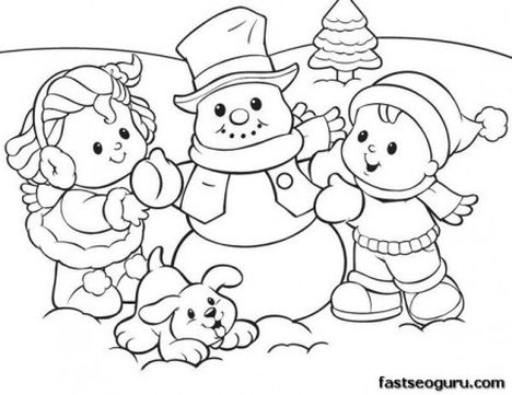 Christmas Snowman Coloring Pages 75