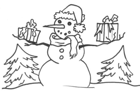Christmas Snowman Coloring Pages 76