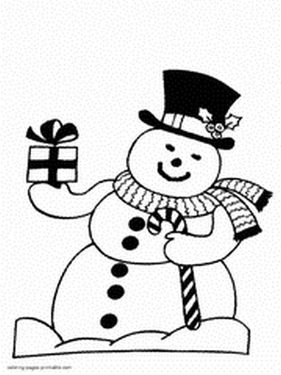 Christmas Snowman Coloring Pages 8