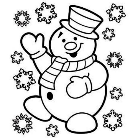Christmas Snowman Coloring Pages 9