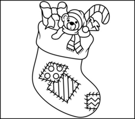 Christmas stocking coloring pages part 3 for Christmas stocking color page