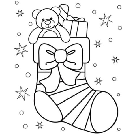 Christmas Stocking Coloring Pages Part 5