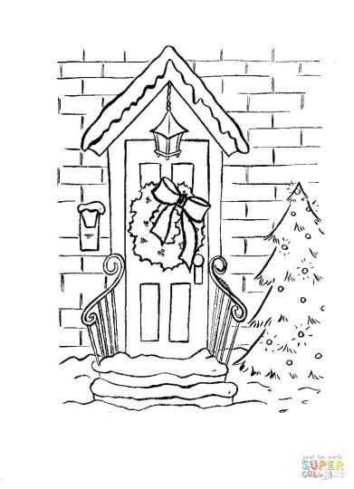 Christmas Wreath Coloring Pages 1
