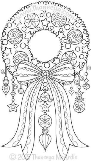 Christmas Wreath Coloring Pages 18