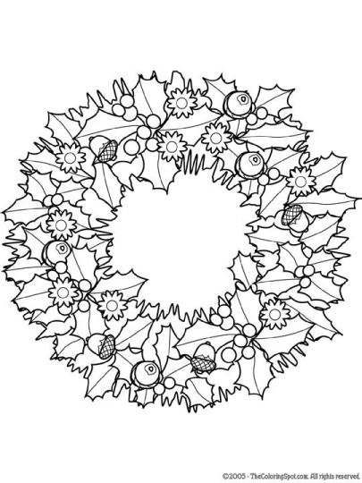 christmas wreath coloring pages 21 - Wreath Coloring Page