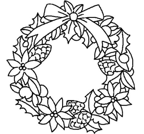 Christmas wreath coloring pages part 5 for Christmas wreath coloring pages