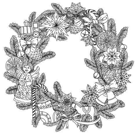 Christmas Wreath Coloring Pages 57