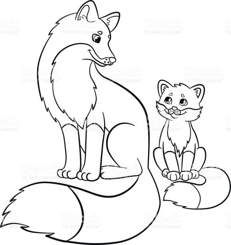 Cute Baby Fox Coloring Pages 1