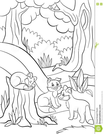 Cute Baby Fox Coloring Pages 12