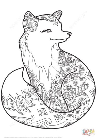 Adaptable image in printable fox coloring pages