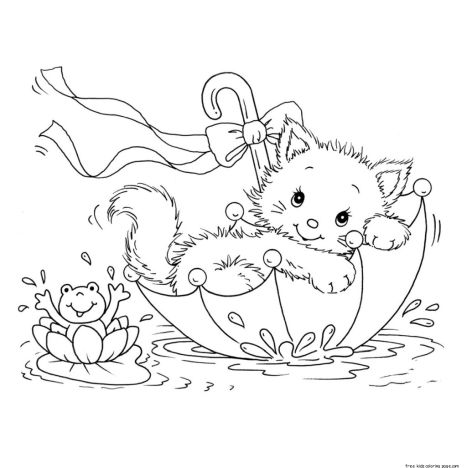 Cute Kitten Coloring Pages 12
