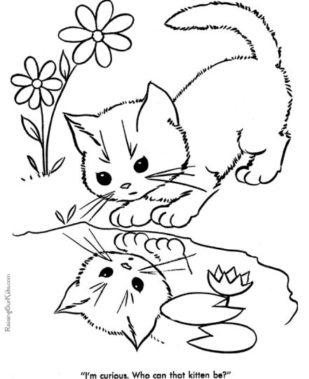 Cute Kitten Coloring Pages 3