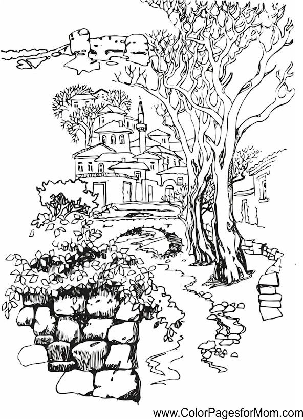 detailed landscape coloring pages for adults | Detailed Landscape Coloring Pages For Adults - Part 4