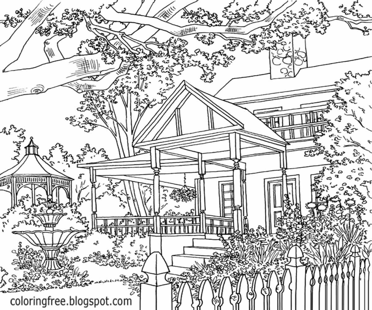 Detailed Landscape Coloring Pages For Adults 56