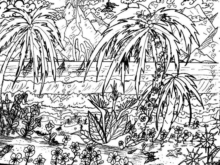 detailed landscape coloring pages for adults | Detailed Landscape Coloring Pages For Adults - Part 6