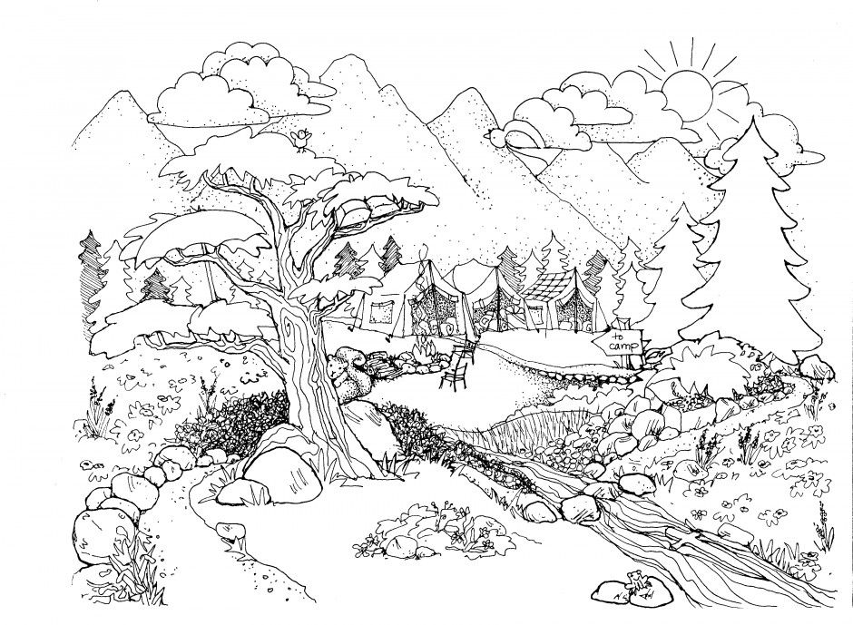 Detailed Landscape Coloring Pages For Adults 65