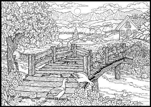 Detailed Landscape Coloring Pages For Adults