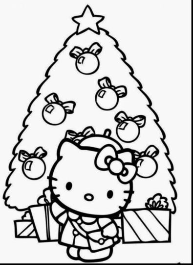 Hello Kitty Christmas Coloring Pages Part 2