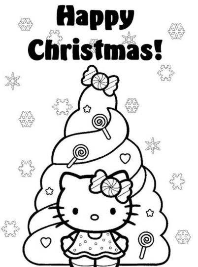 Hello Kitty Christmas Coloring Pages 12