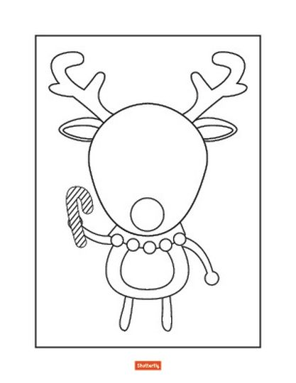 Reindeer Face Coloring Pages 13