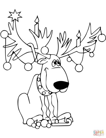 Reindeer Face Coloring Pages 3