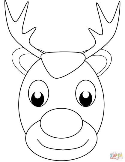 Reindeer Face Coloring Pages 4