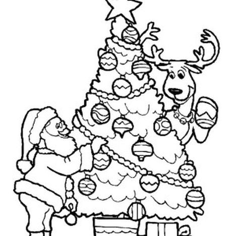 Santa and reindeer coloring pages part 1 for Santa with reindeer coloring pages