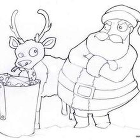 Santa And Reindeer Coloring Pages 10