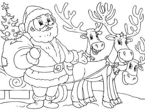 Santa And Reindeer Coloring Pages 11