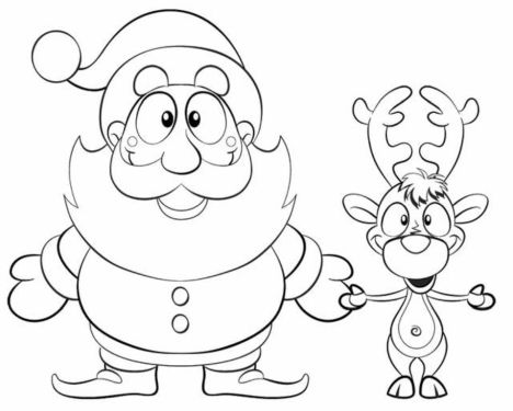 Santa And Reindeer Coloring Pages 12