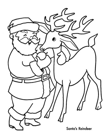 Santa And Reindeer Coloring Pages 13