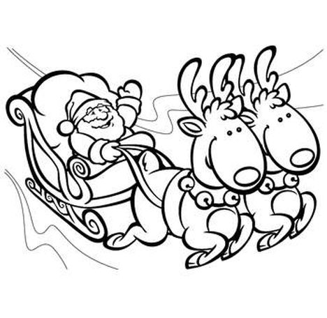 Santa And Reindeer Coloring Pages 15