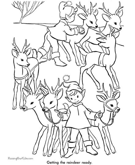 Santa And Reindeer Coloring Pages 16