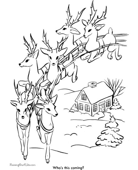 Santa And Reindeer Coloring Pages 17