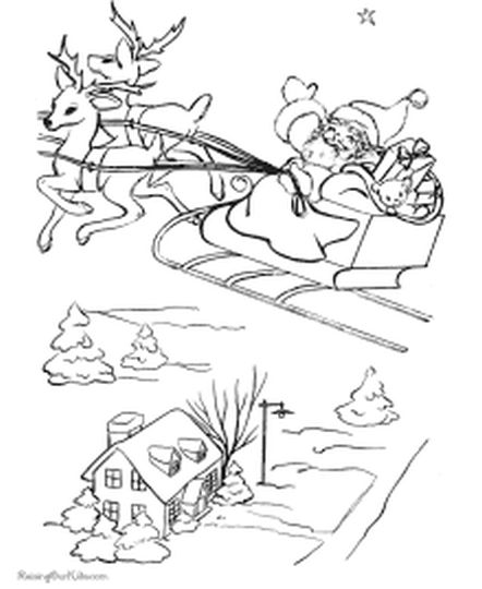 Santa And Reindeer Coloring Pages 18