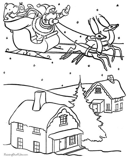 Santa And Reindeer Coloring Pages 19