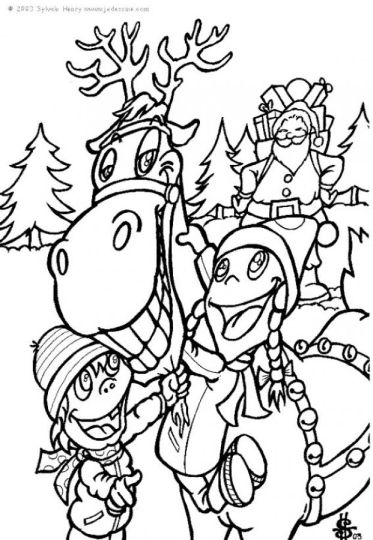 Santa And Reindeer Coloring Pages 2